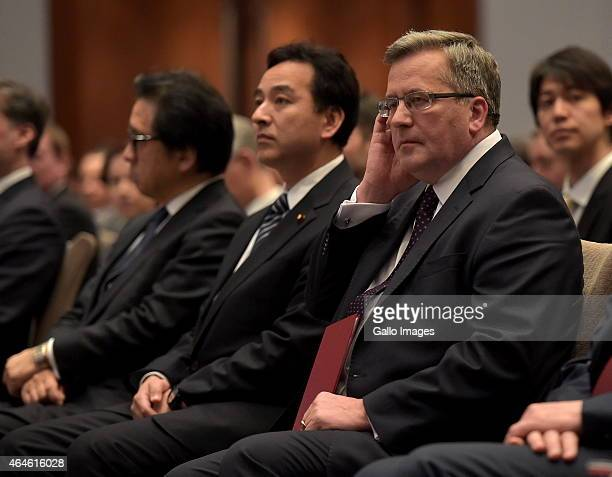 Daishiro Yamagi Deputy Minister of Economy Industry and Trade and President Bronislaw Komorowski attend the Economic Forum between Poland and Japan...