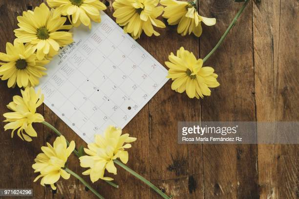 Daisies flowers framing a calendar sheet on old wooden background. Directly above and copy space.