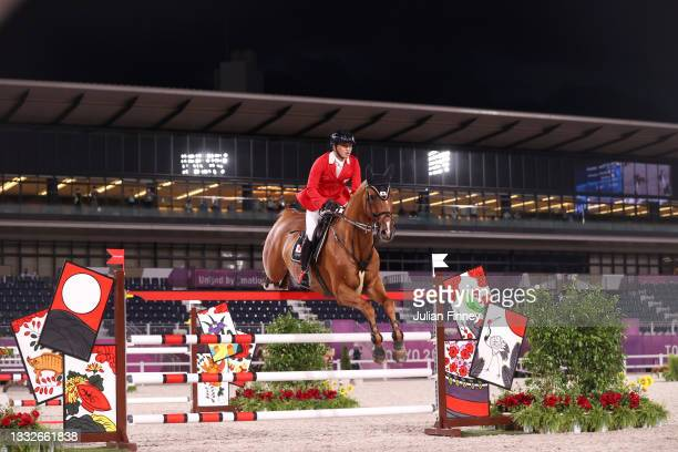 Daisuke Fukushima of Team Japan riding Chanyon competes during the Equestrian Jumping Team Qualifier on day fourteen of the Tokyo 2020 Olympic Games...