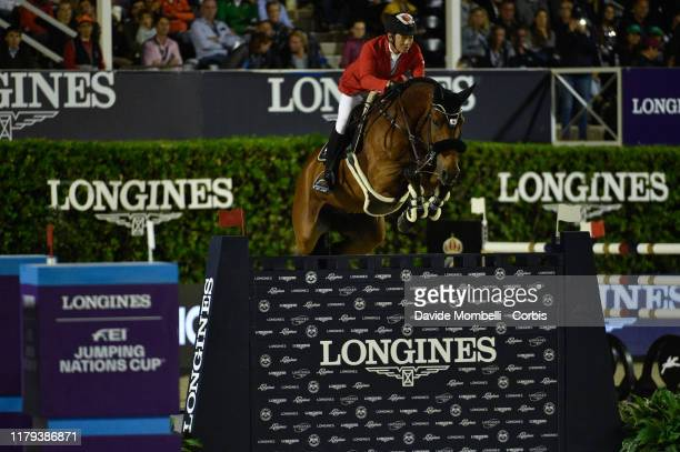 Daisuke Fukushima riding Calouso 2 of Japan during Longines FEI Jumping Nations Cup Final Challenge Cup on October 5 2019 in Barcelona Spain