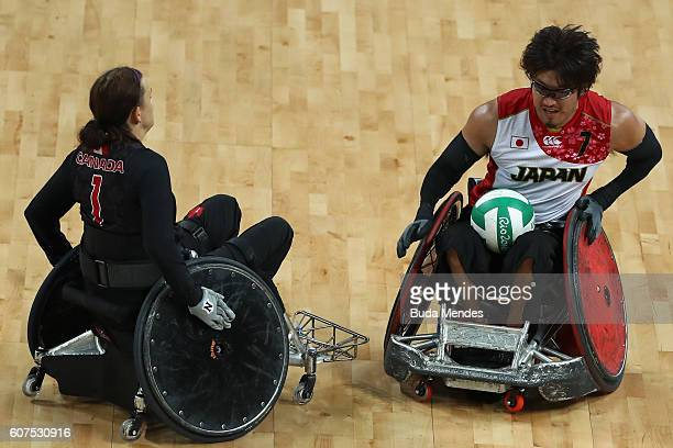 Daisuke Ikezaki in action during the Men's Wheelchair Rugby Bronze Medal match against Canada on day 11 of the Rio 2016 Paralympic Games at Carioca...