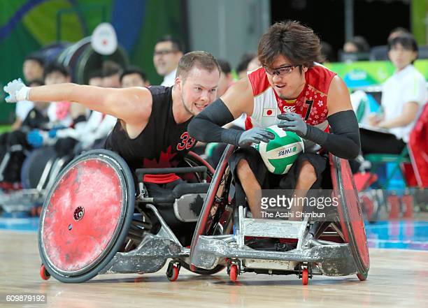 Daisuke Ikezaki of Japan competes in the Wheelchair Rugby bronze medal match between Japan and Canada at Carioca Arena 1 on day 11 of the Rio 2016...