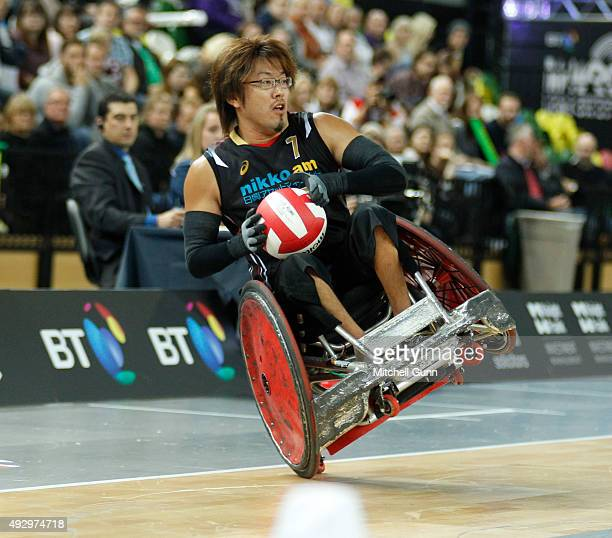 Daisuke Ikezaki of Japan in action during the 2015 BT World Wheelchair Rugby Challenge bronze medal playoff match between Australia and Japan at The...