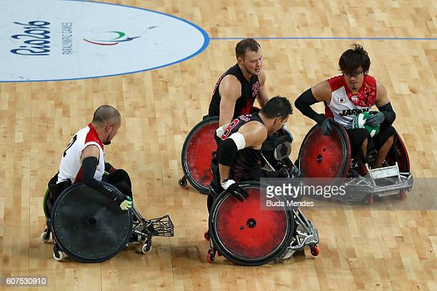 Daisuke Ikezaki of Japan in action during the Men's Wheelchair Rugby Bronze Medal match against Canada on day 11 of the Rio 2016 Paralympic Games at...
