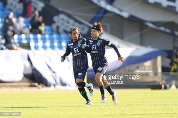 Daisuke ISHIZU of Avispa Fukuoka celebrates scoring his side's first goal with his team mates Daiya TONO during the J.League Meiji Yasuda J2 match...