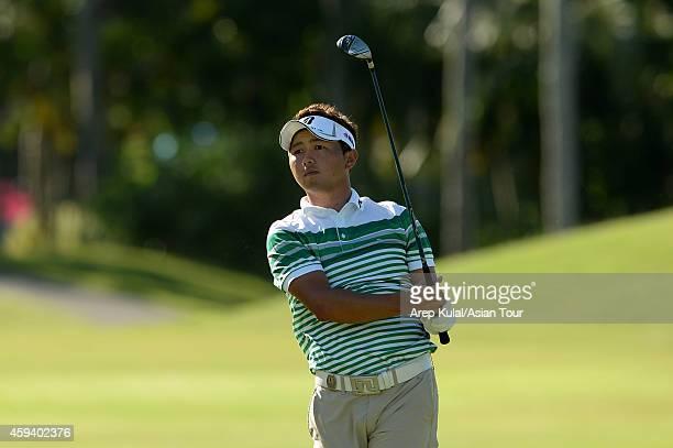 Daisuke Kataoka of Japan during round three of the Resorts World Manila Masters at Manila Southwoods Golf and Country Club on November 22 2014 in...