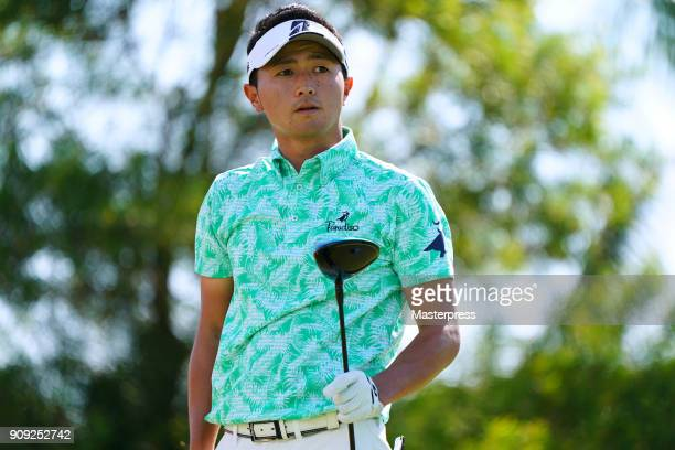 Daisuke Kataoka of Japan hits a tee shot on the 5th hole during the final round of the Sony Open in Hawaii at Waialae Country Club on January 14 2018...