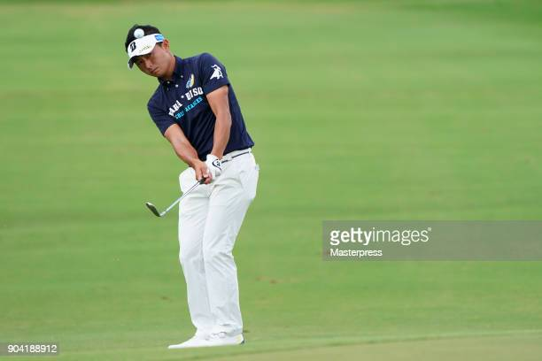 Daisuke Kataoka of Japan hits his third shot on the 10th hole during the first round of the Sony Open in Hawaii at Waialae Country Club on January 11...