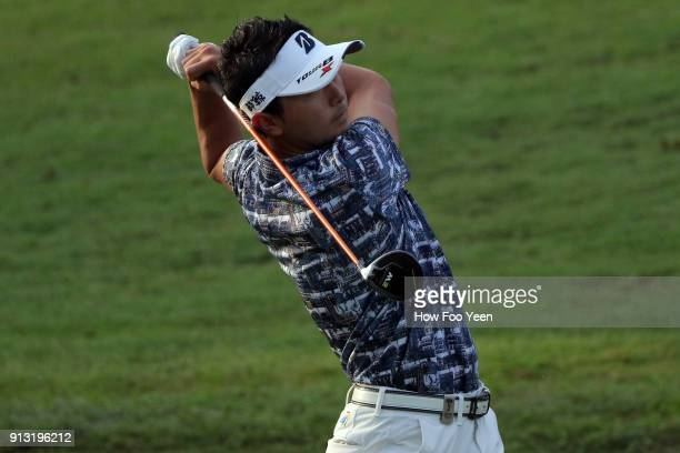 Daisuke Kataoka of Japan in action during day two of the 2018 Maybank Championship Malaysia at Saujana Golf and Country Club on February 2 2018 in...
