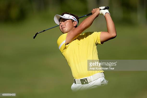 Daisuke Kataoka of Japan in action during round two of the Resorts World Manila Masters at Manila Southwoods Golf and Country Club on November 21...