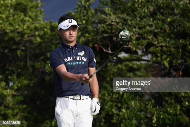 Daisuke Kataoka of Japan lines up his shot from the sixth tee during round one of the Sony Open In Hawaii at Waialae Country Club on January 11 2018...