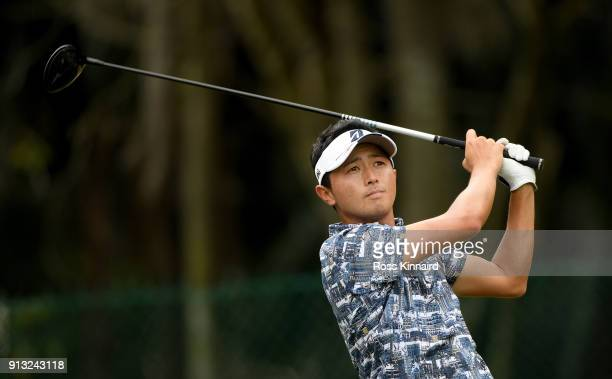 Daisuke Kataoka of Japan on the 18th tee during the second round of the Maybank Championship Malaysia at Saujana Golf and Country Club on February 2...