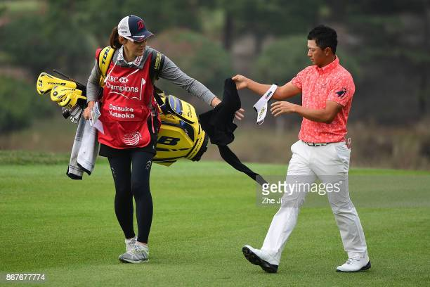 Daisuke Kataoka of Japan plays a shot during the final round of the WGC HSBC Champions at Sheshan International Golf Club on October 29 2017 in...