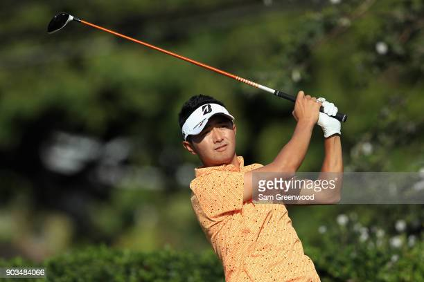 Daisuke Kataoka of Japan plays a shot during the proam tournament prior to the Sony Open In Hawaii at Waialae Country Club on January 10 2018 in...