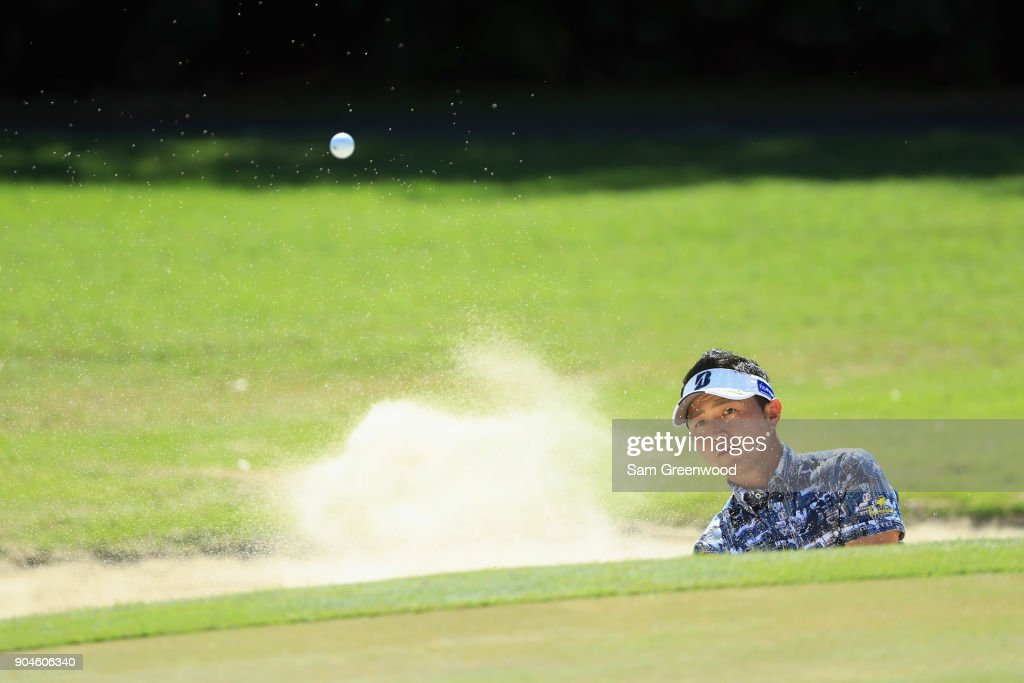 Daisuke Kataoka of Japan plays a shot from a bunker on the first hole during round three of the Sony Open In Hawaii at Waialae Country Club on January 13, 2018 in Honolulu, Hawaii.