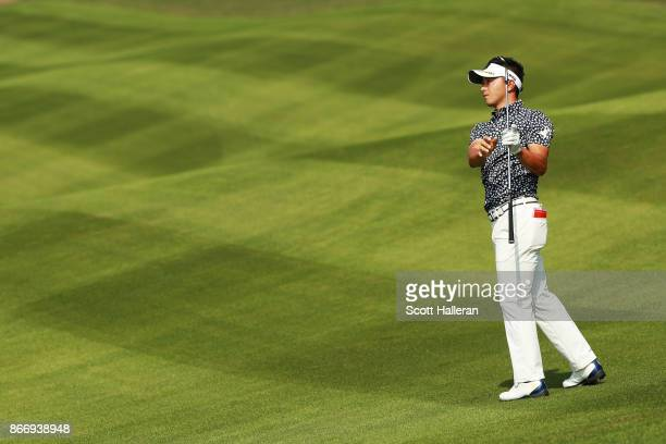 Daisuke Kataoka of Japan plays a shot on the 14th hole during the second round of the WGC HSBC Champions at Sheshan International Golf Club on...