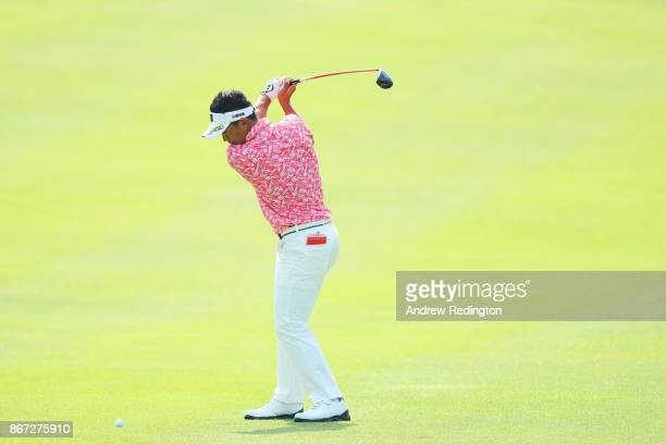 Daisuke Kataoka of Japan plays a shot on the first hole during the third round of the WGC HSBC Champions at Sheshan International Golf Club on...