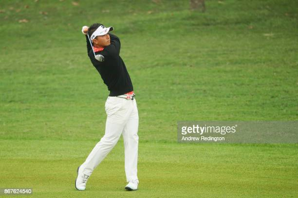 Daisuke Kataoka of Japan plays a shot on the first hole during the final round of the WGC HSBC Champions at Sheshan International Golf Club on...