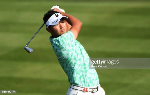 Daisuke Kataoka of Japan plays a shot on the second hole during the first round of the WGC HSBC Champions at Sheshan International Golf Club on...