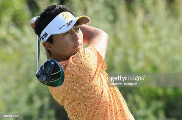 Daisuke Kataoka of Japan plays his second shot on the par four 2nd tee during the first round of the NBO Oman Open at Al Mouj Golf on February 15...
