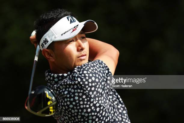 Daisuke Kataoka of Japan plays his shot from the 14th tee during the second round of the WGC HSBC Champions at Sheshan International Golf Club on...
