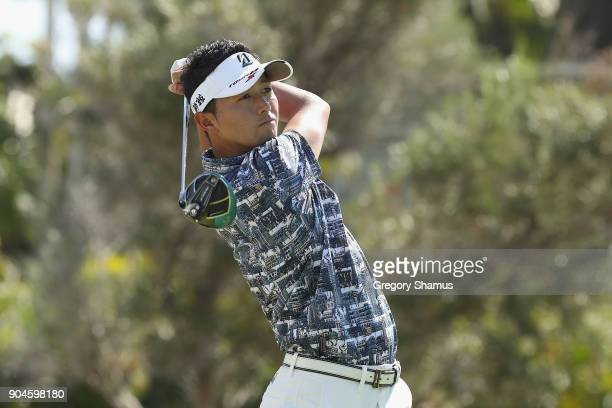 Daisuke Kataoka of Japan plays his shot from the first tee during round three of the Sony Open In Hawaii at Waialae Country Club on January 13 2018...