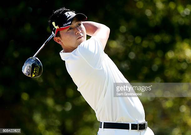 Daisuke Kataoka of Japan plays his shot from the first tee during the final round of the Sony Open In Hawaii at Waialae Country Club on January 17...