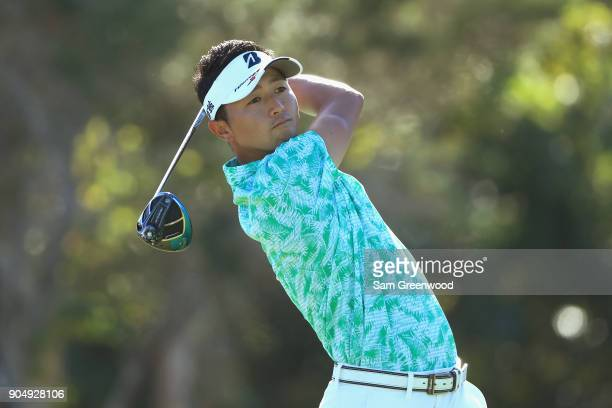 Daisuke Kataoka of Japan plays his shot from the first tee during the final round of the Sony Open In Hawaii at Waialae Country Club on January 14...