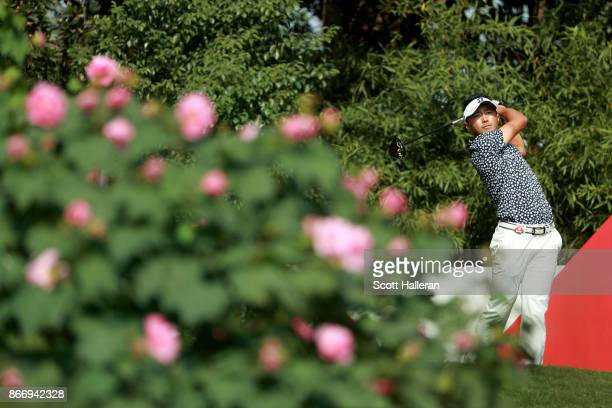 Daisuke Kataoka of Japan plays his shot from the second tee during the second round of the WGC HSBC Champions at Sheshan International Golf Club on...