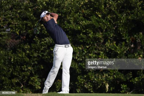 Daisuke Kataoka of Japan plays his shot from the sixth tee during round one of the Sony Open In Hawaii at Waialae Country Club on January 11 2018 in...