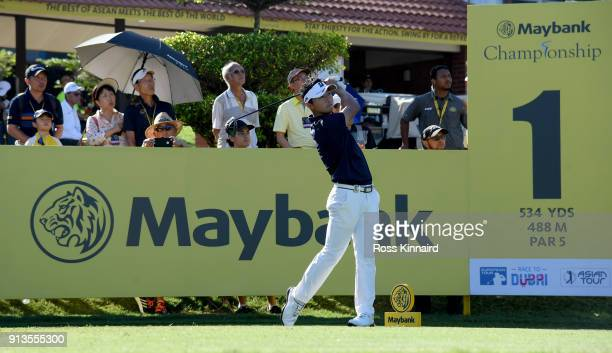 Daisuke Kataoka of Japan tees off on the 1st hole during the third round of the Maybank Championship Malaysia at Saujana Golf and Country Club on...