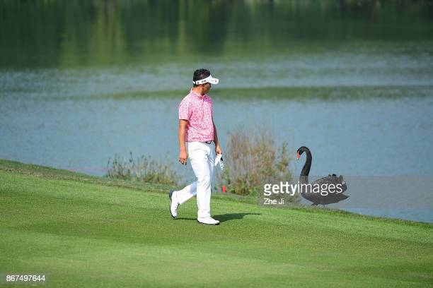 Daisuke Kataoka of Japan walks on the 2nd hole during the third round of the WGC HSBC Champions at Sheshan International Golf Club on October 28 2017...