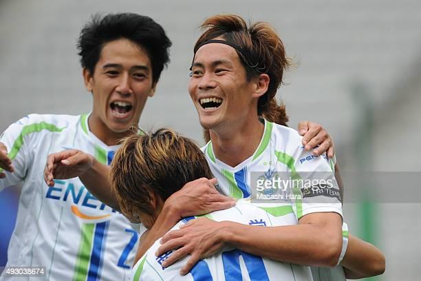 Daisuke Kikuchi of Shonan Bellmare celebrates the second goal during the J. League match between FC Tokyo and Shonan Bellmare at the Ajinomoto...
