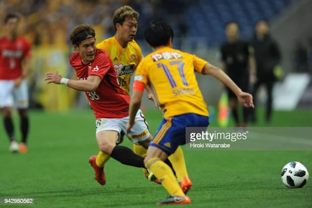 Daisuke Kikuchi of Urawa Red Diamonds in action during the J.League J1 match between Urawa Red Diamonds and Vegalta Sendai at Saitama Stadium on...
