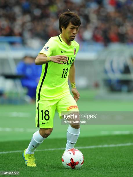 Daisuke Kikuchi of Urawa Red Diamonds in action during the Xerox Super Cup match between Kashima Antlers and Urawa Red Diamonds at Nissan Stadium on...