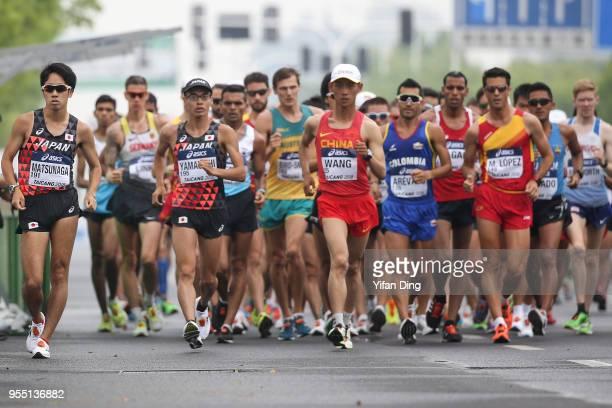 Daisuke Matsunaga of Japan leads the race during Men's 20 kilometres Race Walk of IAAF World Race Walking Team Championships Taicang 2018 on May 6...