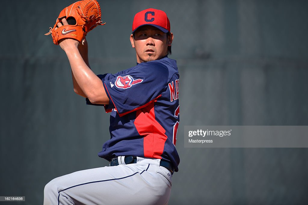 Daisuke Matsuzaka of Cleveland Indians throws in the bullpen during Cleveland Indians Spring Training on February 17, 2013 in Goodyear, Arizona.