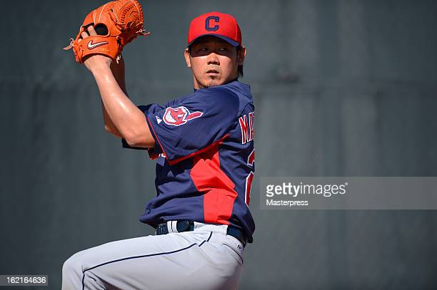 Daisuke Matsuzaka of Cleveland Indians throws in the bullpen during Cleveland Indians Spring Training on February 17 2013 in Goodyear Arizona