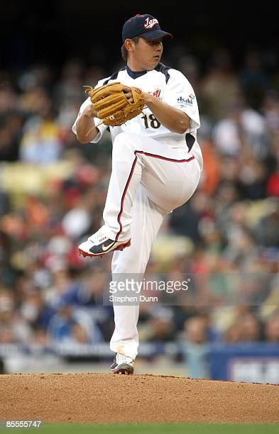 Daisuke Matsuzaka of Japan delivers a pitch against the United States in the first inning of the semifinal game of the 2009 World Baseball Classic on...