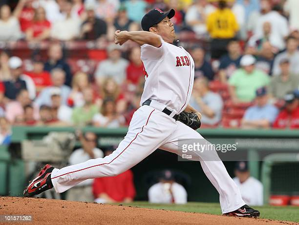 Daisuke Matsuzaka of the Boston Red Sox delivers a pitch in the first inning against the Oakland Athletics on June 2 2010 at Fenway Park in Boston...