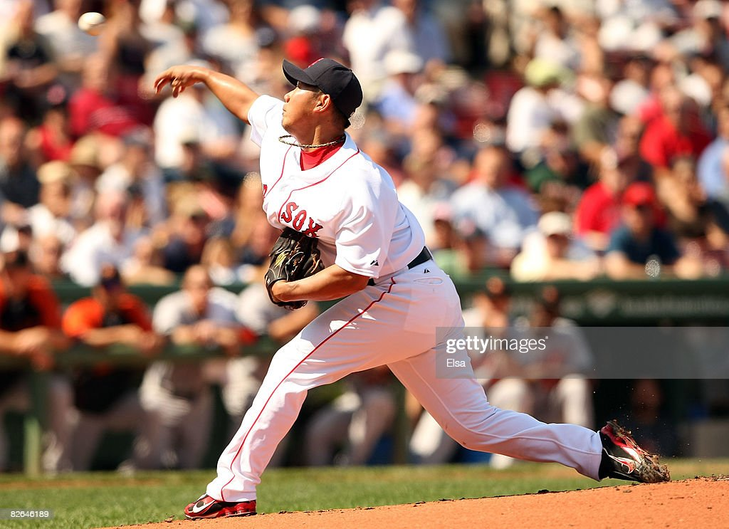 Daisuke Matsuzaka #18 of the Boston Red Sox delivers a pitch in the first inning against the Baltimore Orioles on September 3, 2008 at Fenway Park in Boston, Massachusetts.