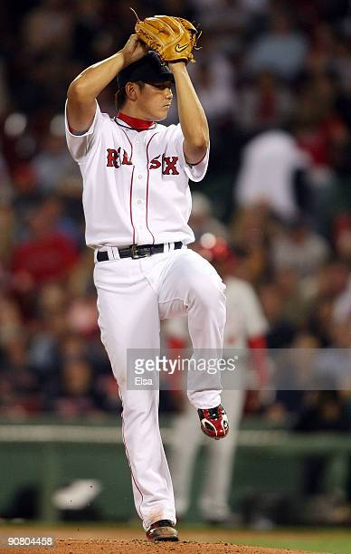 Daisuke Matsuzaka of the Boston Red Sox delivers a pitch in the first inning against the Los Angeles Angels of Anaheim on September 15 2009 at Fenway...