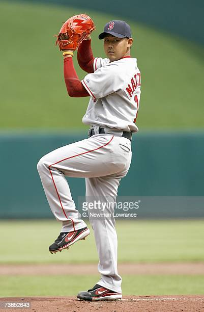Daisuke Matsuzaka of the Boston Red Sox lines up the pitch during the game against the Kansas City Royals on April 5 2007 at Kauffman Stadium in...