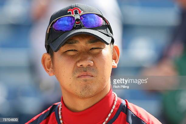 Daisuke Matsuzaka of the Boston Red Sox looks on prior to the game against the Los Angeles Dodgers at Holman Stadium in Vero Beach, Florida on March...
