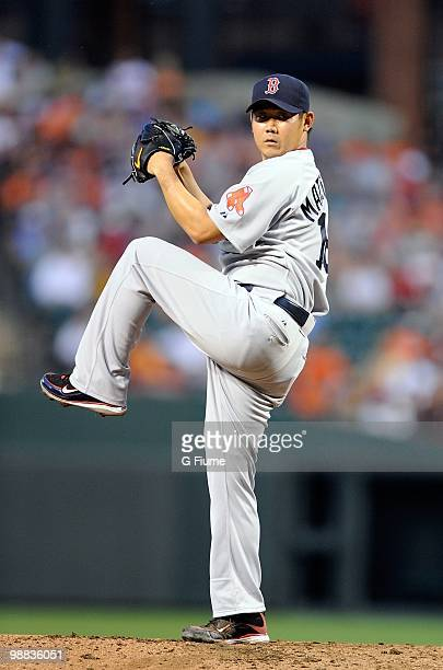Daisuke Matsuzaka of the Boston Red Sox pitches against the Baltimore Orioles at Camden Yards on May 1 2010 in Baltimore Maryland