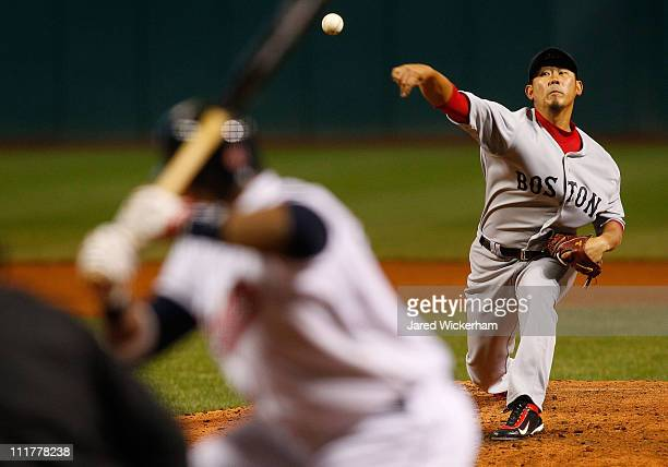 Daisuke Matsuzaka of the Boston Red Sox pitches against the Cleveland Indians during the game on April 6 2011 at Progressive Field in Cleveland Ohio