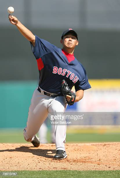 Daisuke Matsuzaka of the Boston Red Sox pitches against the Florida Marlins during a Spring Training game on March 6, 2007 at Roger Dean Stadium in...
