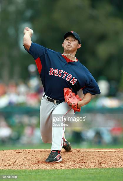 Daisuke Matsuzaka of the Boston Red Sox pitches against the Los Angeles Dodgers during a spring training game on March 16, 2007 at Holman Stadium in...