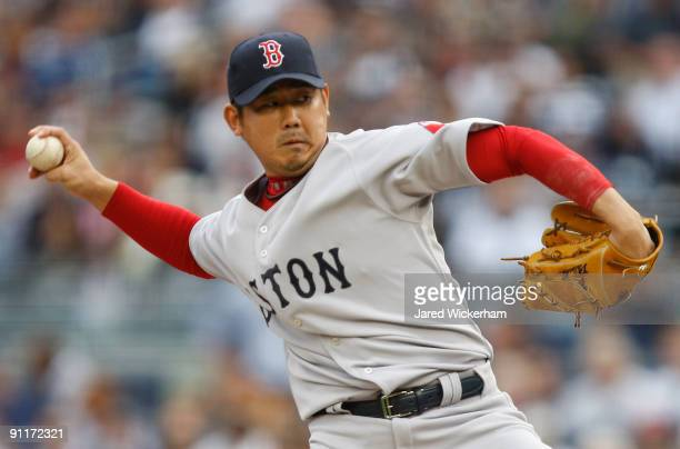 Daisuke Matsuzaka of the Boston Red Sox pitches against the New York Yankees during the game on September 26 2009 at Yankee Stadium in the Bronx...