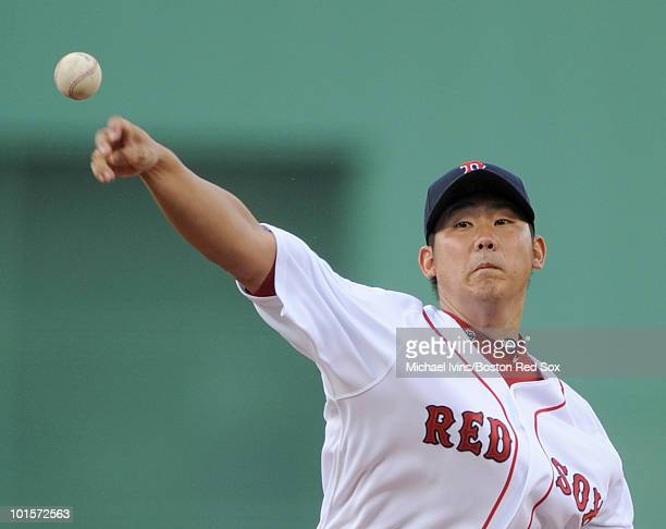 Daisuke Matsuzaka of the Boston Red Sox pitches against the Oakland Athletics in the first inning on June 2 2010 at Fenway Park in Boston...